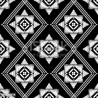 Aztekische Stickerei Muster Design Nahtlos Vektor Abstrakte ...