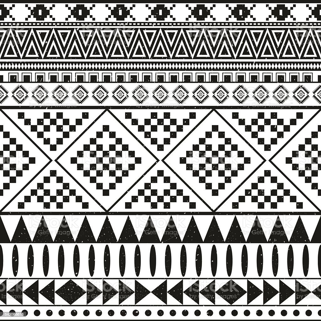 Aztec Ethnic Seamless Pattern Tribal Black And White Color