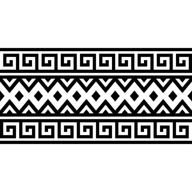 Aztec ethnic stripe pattern Aztec ethnic stripe pattern in black and white color egypt stock illustrations