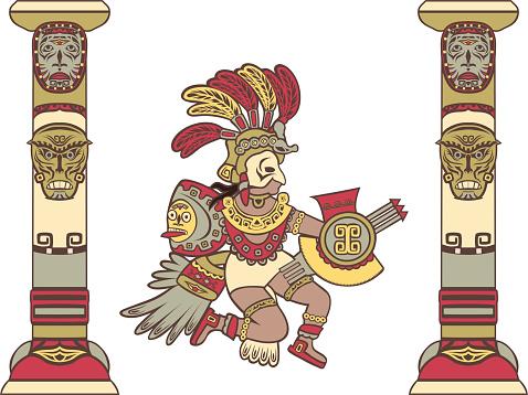 Aztec god between columns