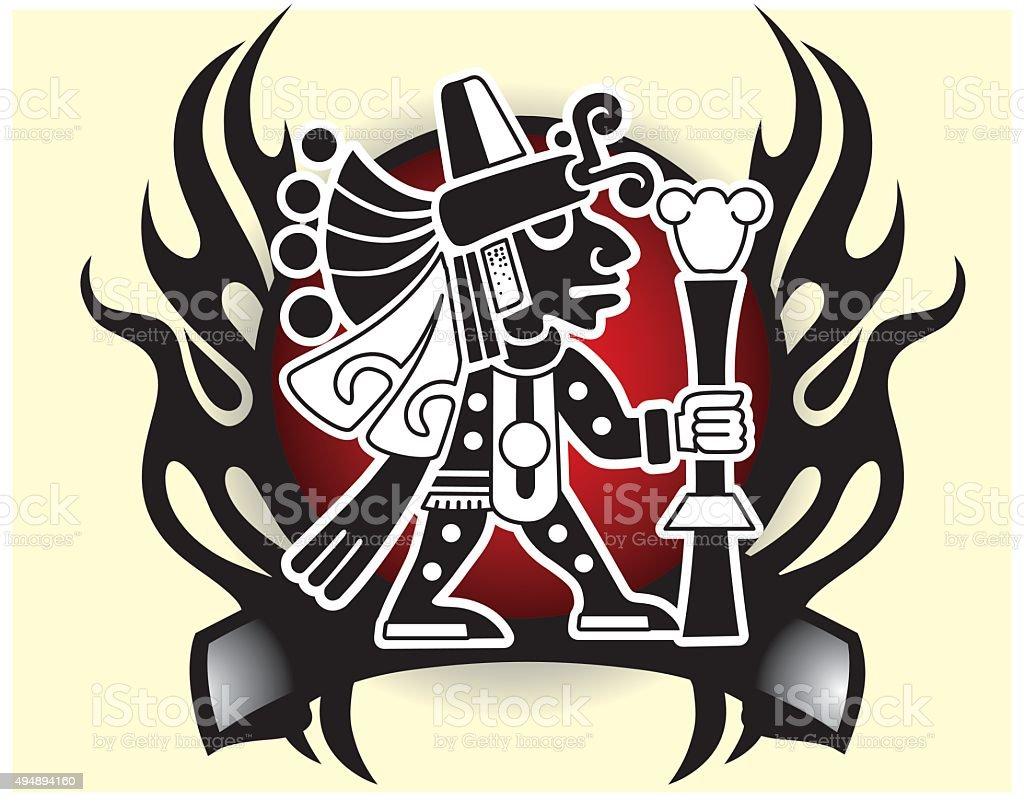 Aztec god of commerce and travelers Tribal god mask vector illustration vector art illustration
