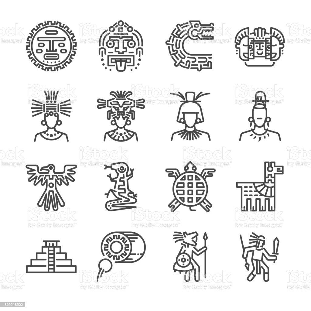 Conjunto de ícones asteca. Incluídos os ícones como Maia, Maia, tribo, antiguidade, pirâmide, guerreiro e muito mais. - ilustração de arte em vetor