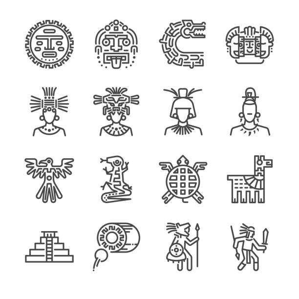 Aztec icon set. Included the icons as maya, mayan, tribe, antique, pyramid , warrior and more. vector art illustration