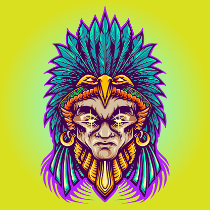 Aztec Indian American Warrior Vector illustrations for your work Logo, mascot merchandise t-shirt, stickers and Label designs, poster, greeting cards advertising business company or brands.