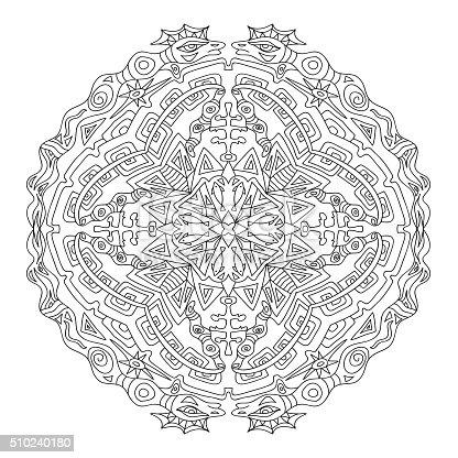 Ilustración de Azteca Mandala Página Para Colorear y más banco de ...