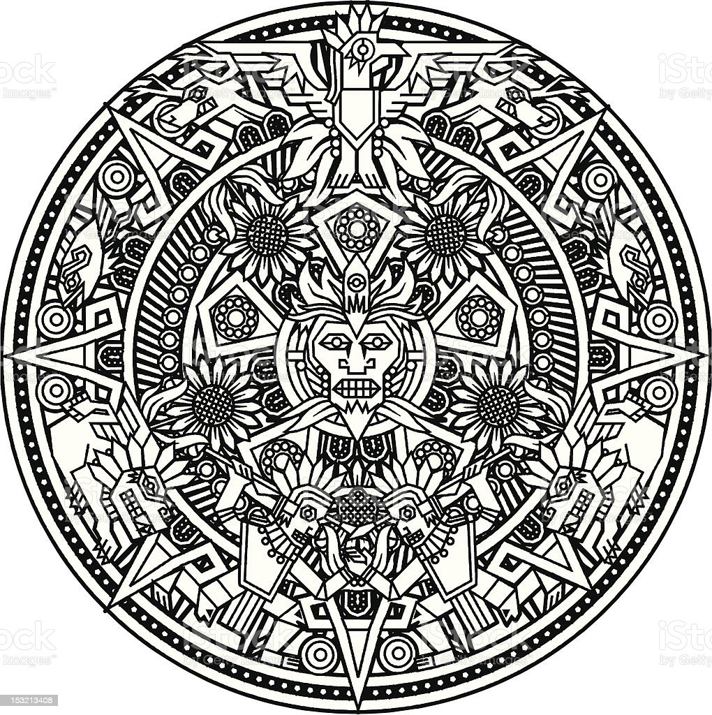 Aztec Mandala vector art illustration