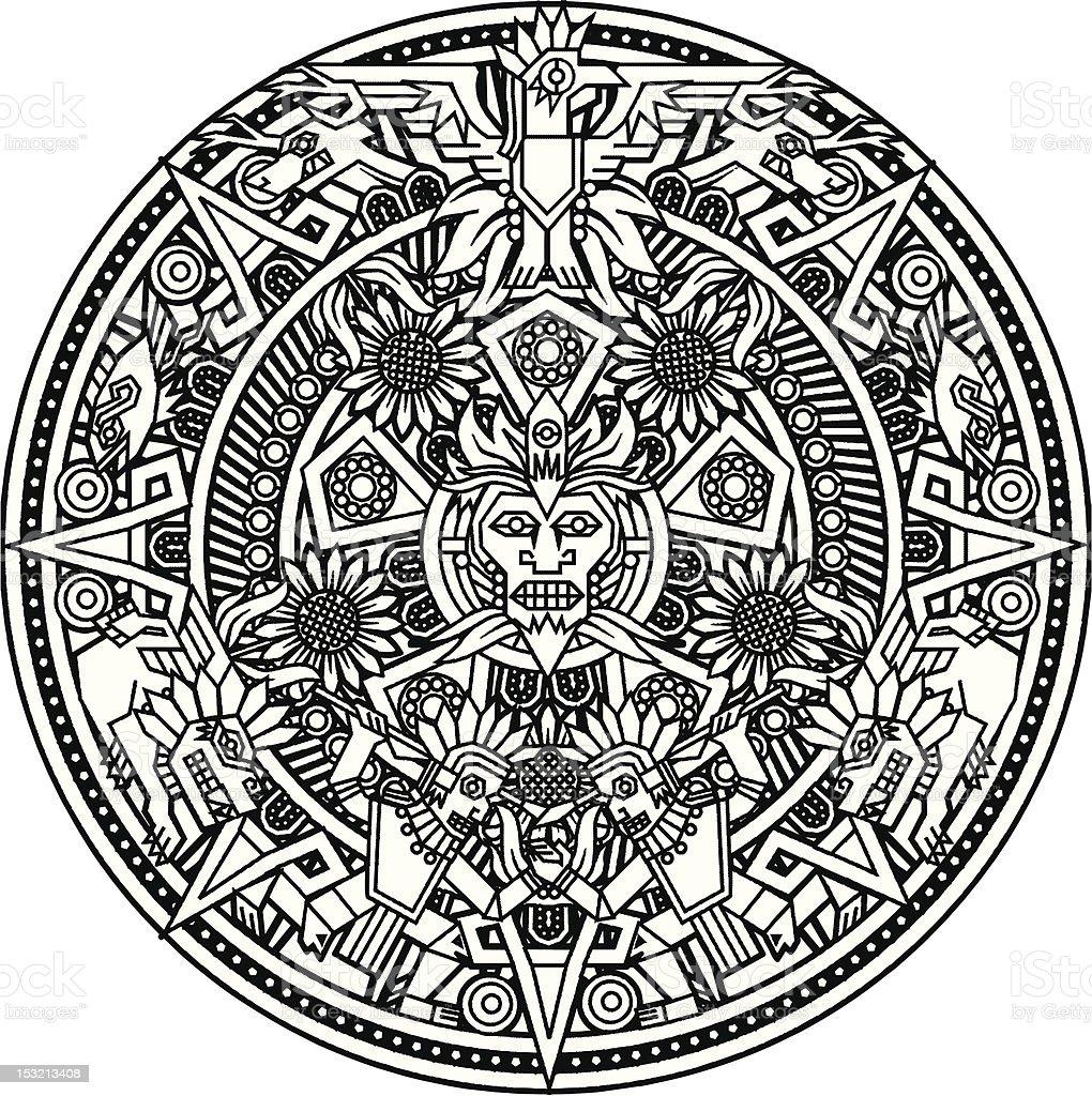 Mandala asteca - ilustração de arte em vetor