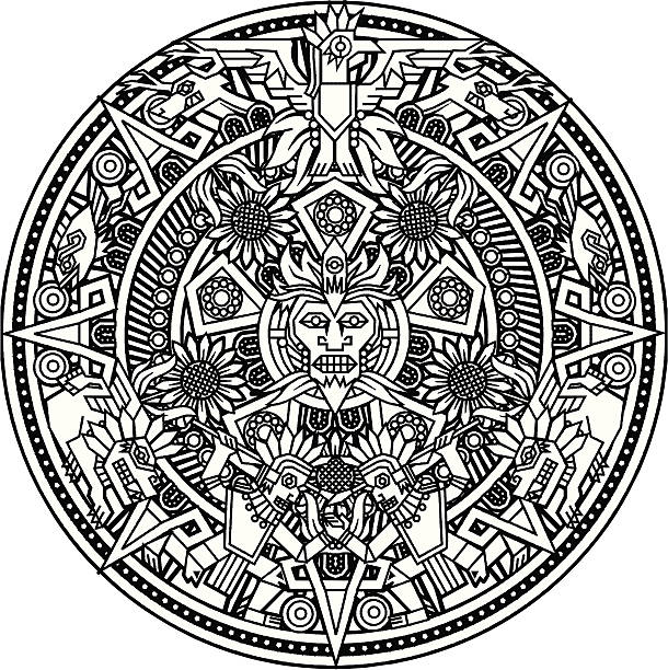 aztec mandala - birds calendar stock illustrations, clip art, cartoons, & icons