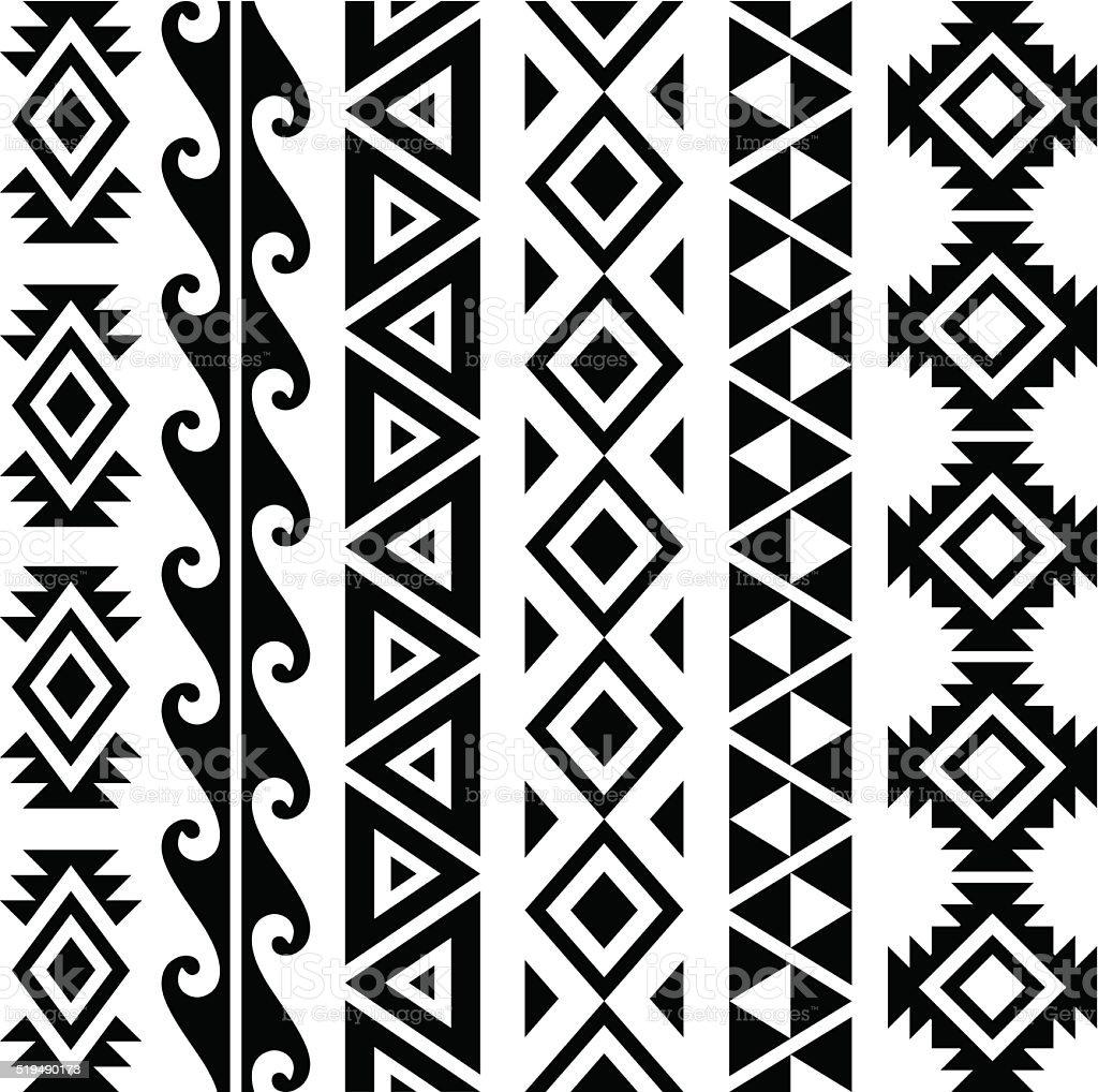 Aztec Patterns vector art illustration