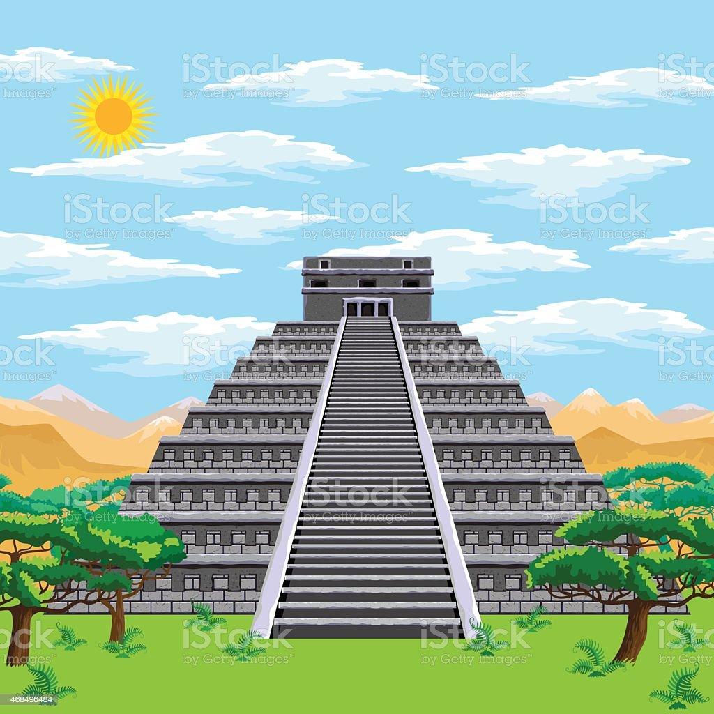 Aztec pyramid vector art illustration