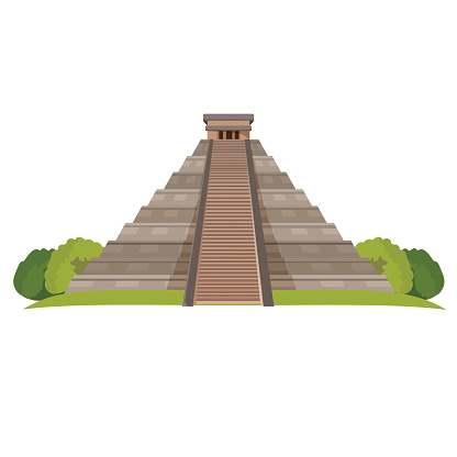 Aztec pyramid with green bushes at base isolated on white. Realistic vector