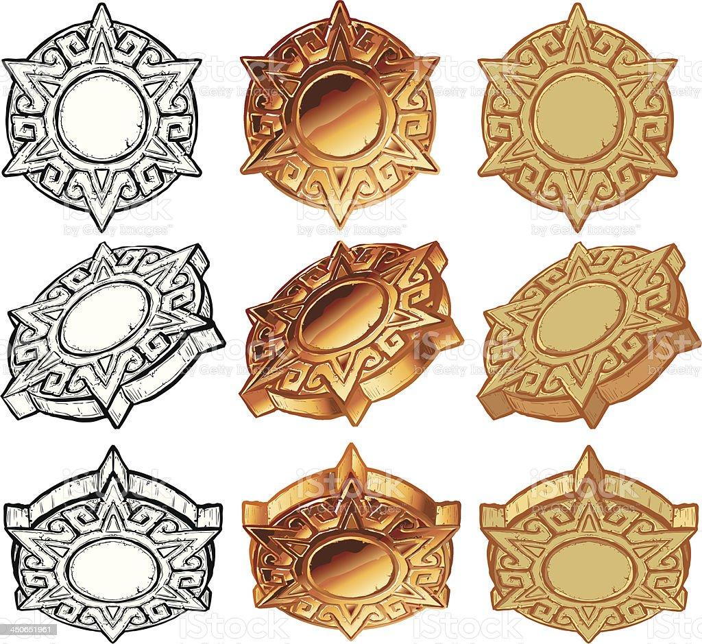 Aztec Sun Medallion Vector Icon Set vector art illustration
