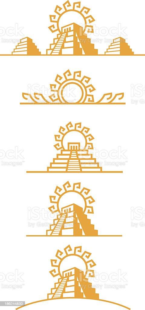 Aztec Temples vector art illustration