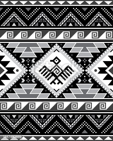 istock Aztec Tribal geometric seamless vector pattern with bird and triangles - Peruvian rug or carpet style, 8x10 format, Southwestern decor in black, gray and white 1347480669