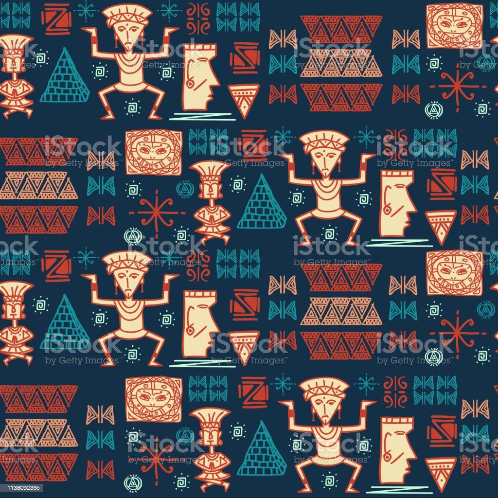 手描き象形文字シンボルとアステカ部族パターンベクトル壁紙壁の