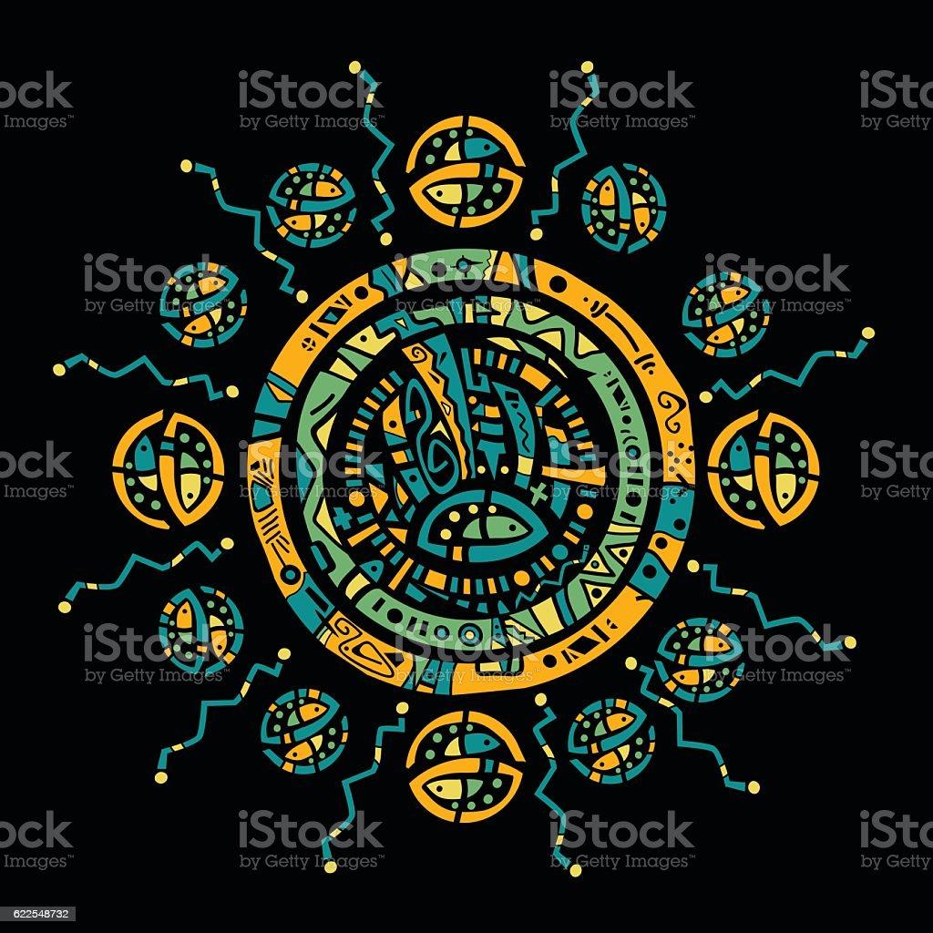 Aztec tribal sun vector art illustration