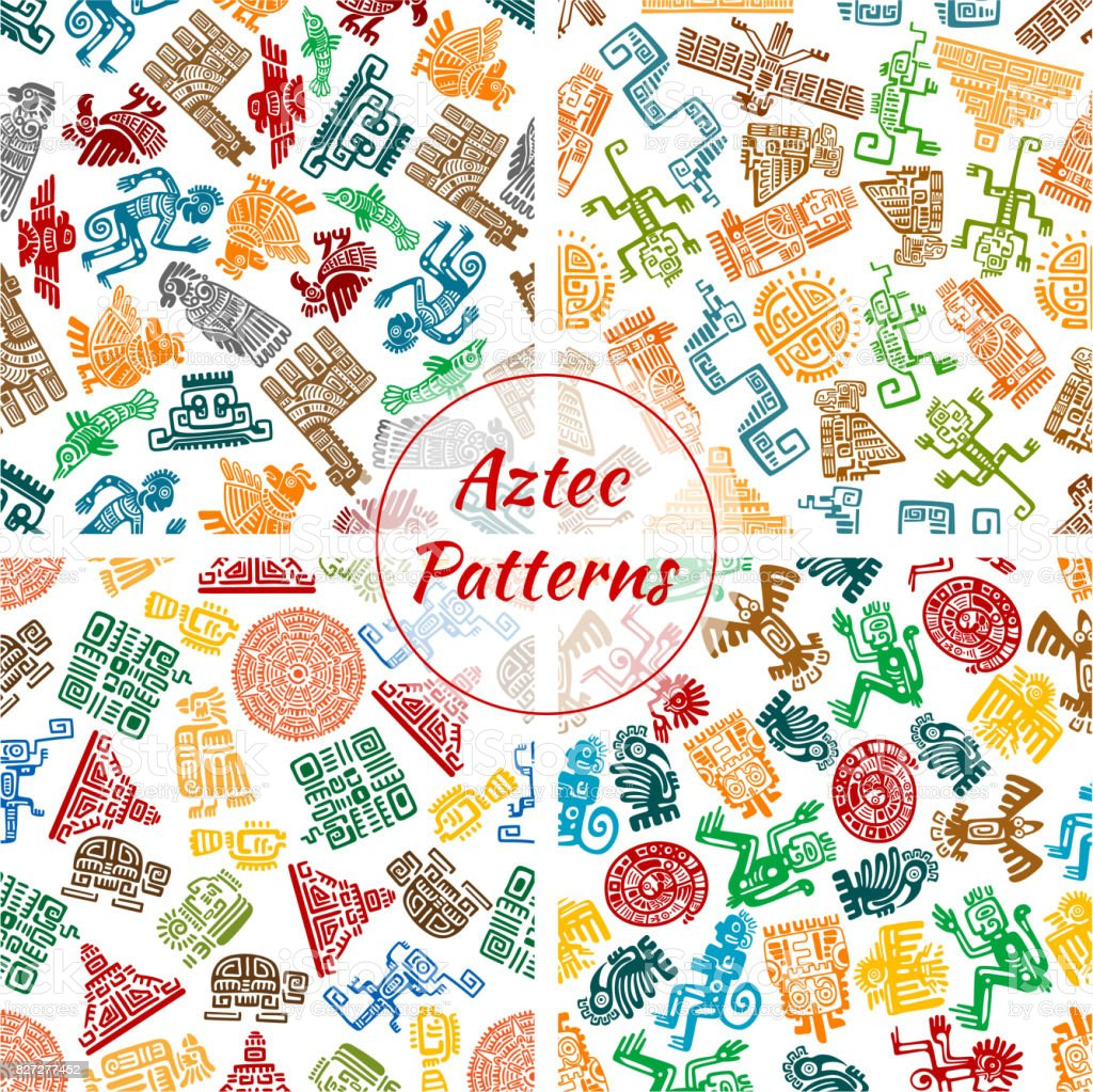 Aztec vector seamless patterns set vector art illustration