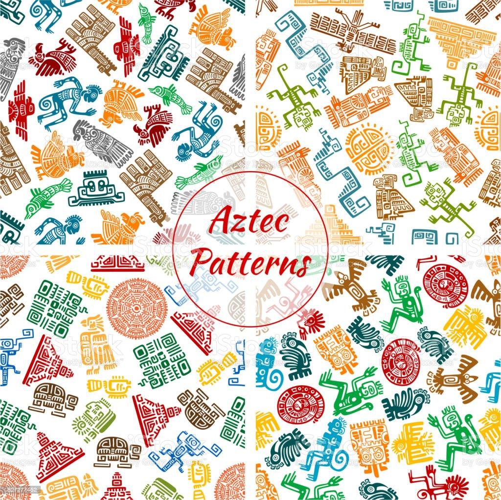 Conjunto de patrones sin fisuras Azteca vector - ilustración de arte vectorial