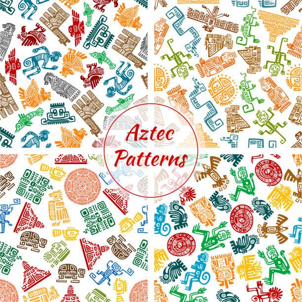 Aztec vector seamless patterns set vector art illustration