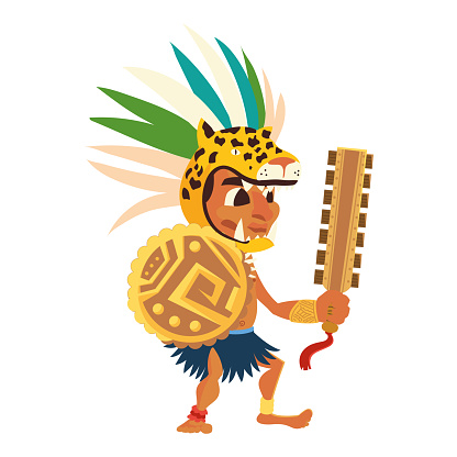 aztec warrior in traditional weapon tribal and headgear