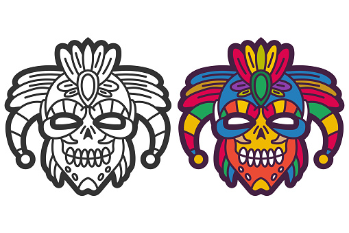 Aztec warrior mask vector cartoon illustration isolated on a white background.