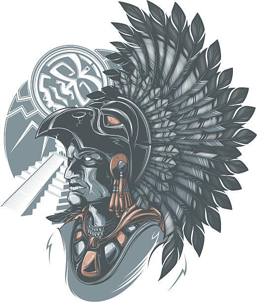 Aztec Warrior vector art illustration