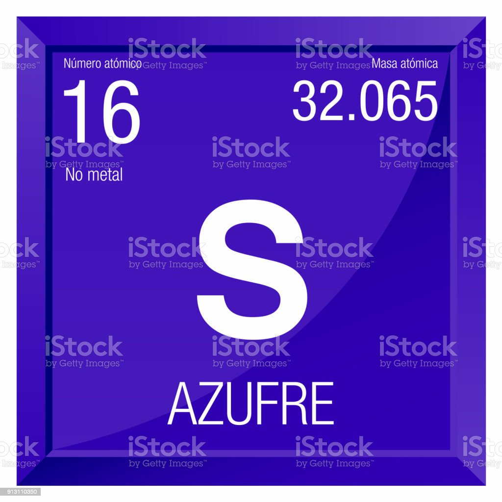 Azufre Symbol Sulfur In Spanish Language Element Number 16 Of The