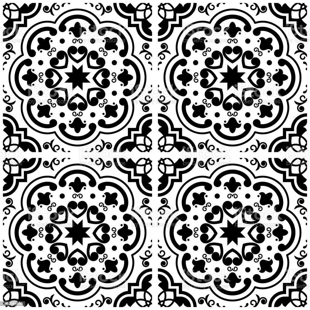 Azulejos portuguese tile floor pattern lisbon seamless black and azulejos portuguese tile floor pattern lisbon seamless black and white tiles vintage geometric ceramic dailygadgetfo Gallery