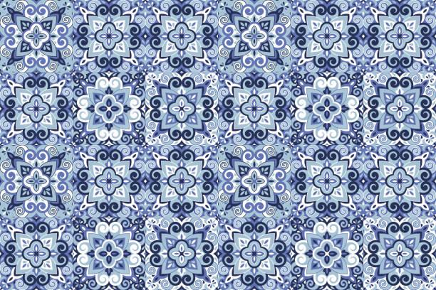 Azulejos Tile Vector Seamless Pattern Azulejos ceramic tile design. Talavera tracery motif. Unique creative endless fill swatch. Portuguese, Spanish, Mexican, Brazilian folklore ornament. Ethnic style vector hand drawn seamless pattern. fabric swatch stock illustrations