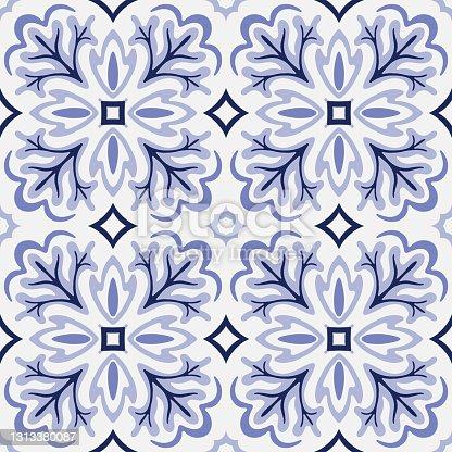 istock Azulejos Tile Vector Seamless Pattern 1313380087