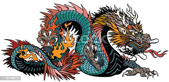 azure also blue green Chinese dragon. Asian and Eastern mythological creature. Isolated tattoo style vector illustration