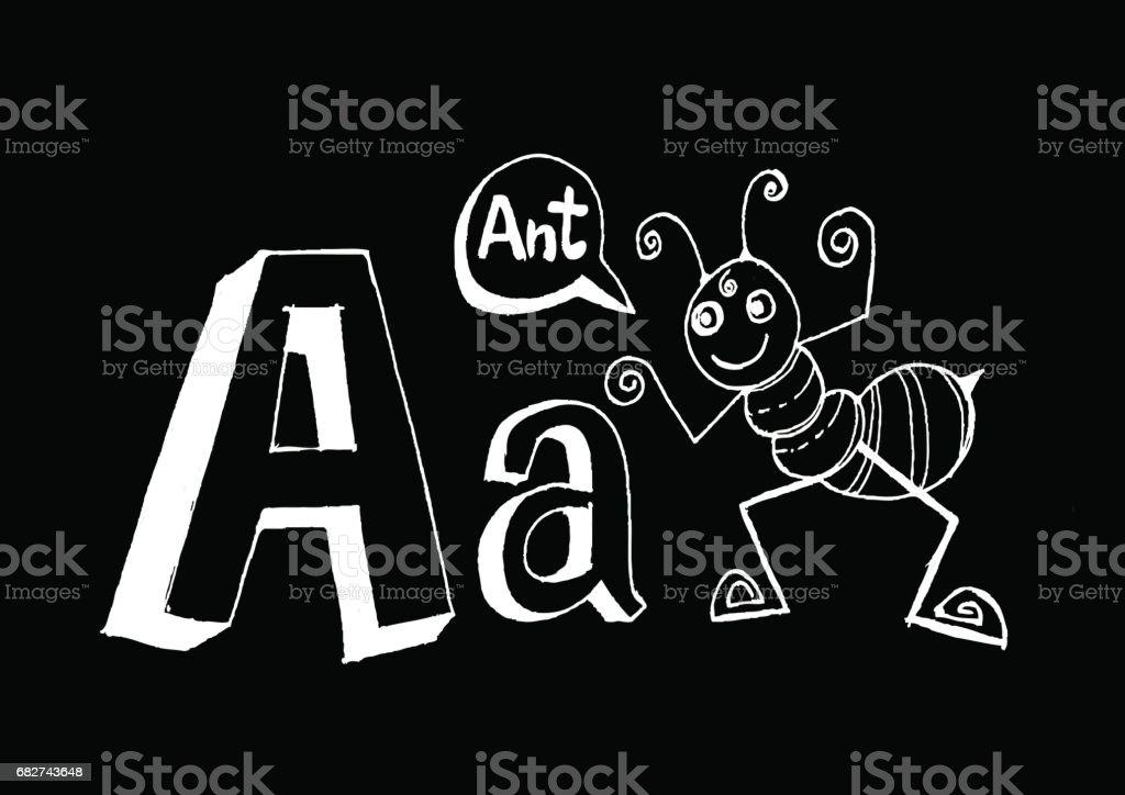 B 漢英 d f g h 我 j k l m n o p q r s t u v w x y z 卡通文本字體手繪圖向量信件 - 免版稅動物圖庫向量圖形