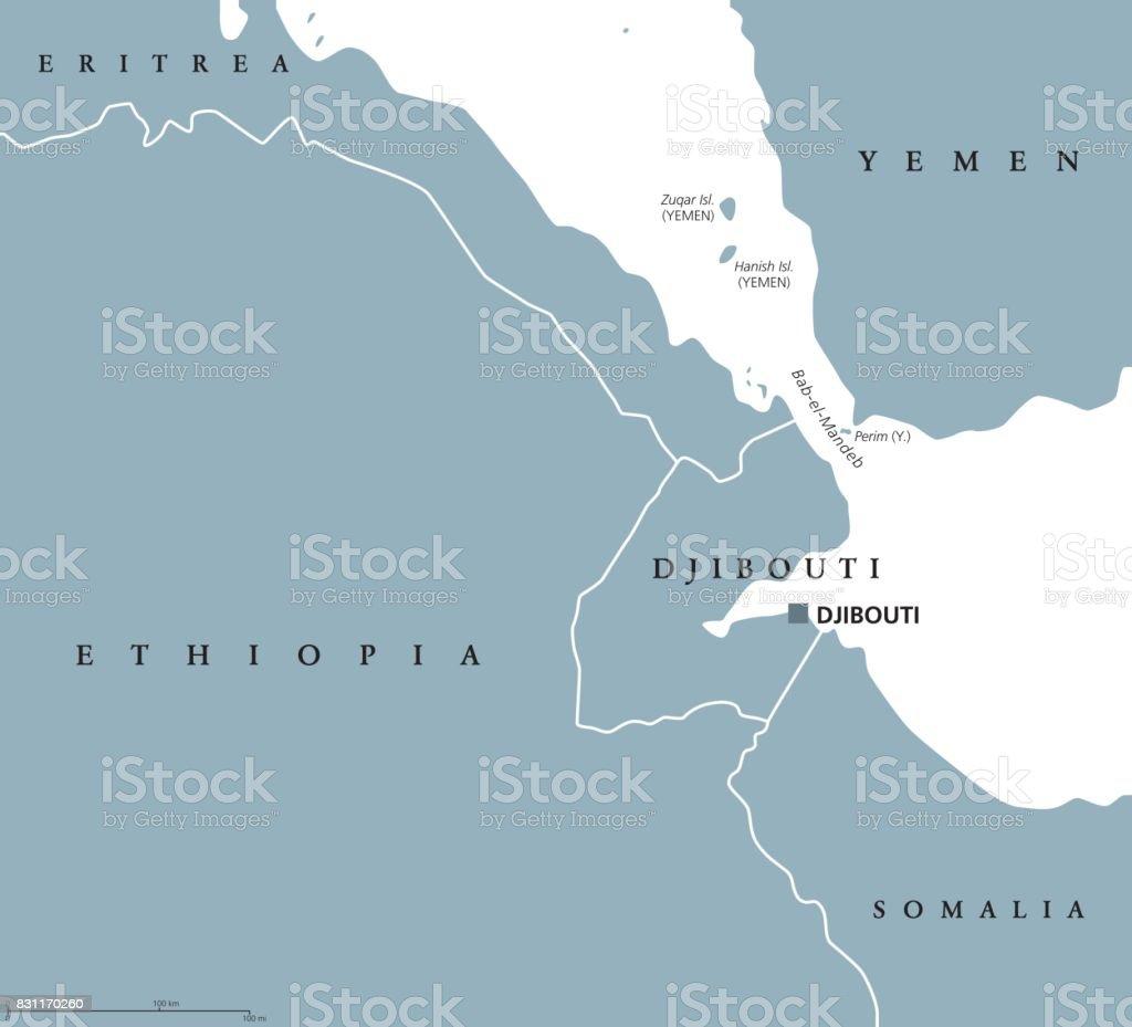 bab el mandeb strait region political map royalty free bab el mandeb strait region political