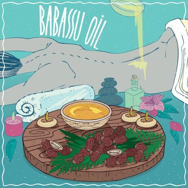 illustrazioni stock, clip art, cartoni animati e icone di tendenza di babassu oil used for body massage - china drug