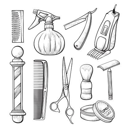 Babershop business sketch tools line art set