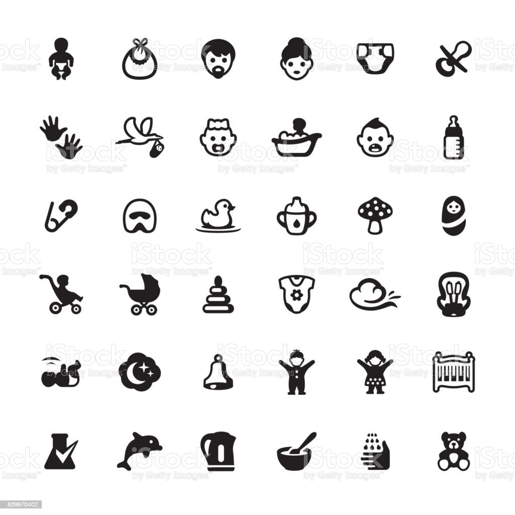 Babies and Baby Goods - icons set vector art illustration