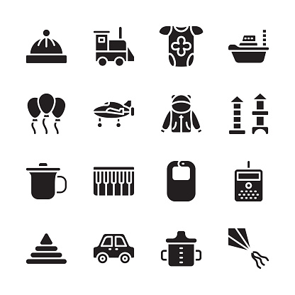 Babies and Kids Glyph Icons - Solid, Vectors
