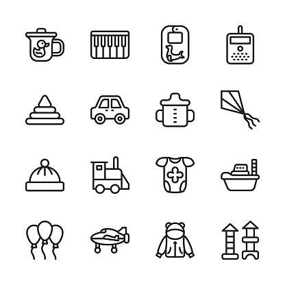 Babies and Kids Outline Icons - Stroked, Vectors