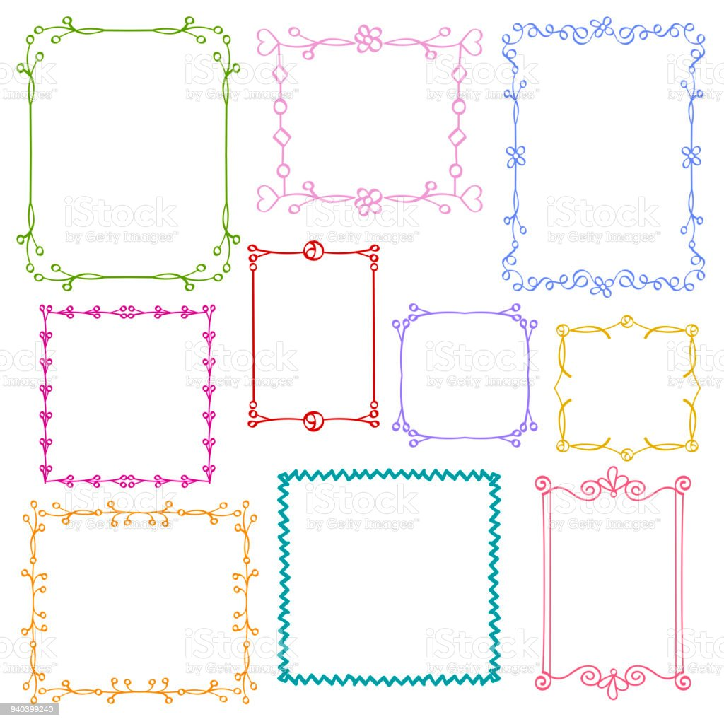Babies And Kids Photo Frames Vector Set Childrens Drawing Doodle ...