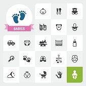 Twenty-two flat unicolor Babies related icons plus label with a ribbon. Exclusive Set #19.