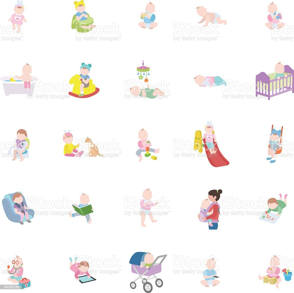 Babies color vector icons vector art illustration