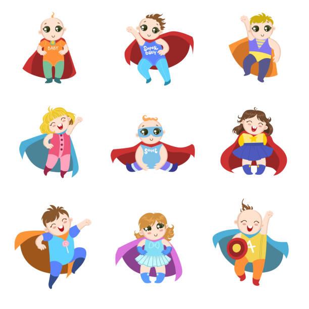 ilustrações de stock, clip art, desenhos animados e ícones de bebés forma como os super-heróis do conjunto - super baby