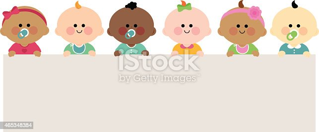 185267233 istock photo Babies holding horizontal blank banner 465348384