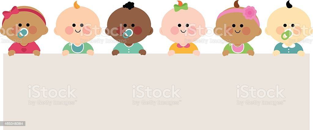 Babies holding horizontal blank banner vector art illustration