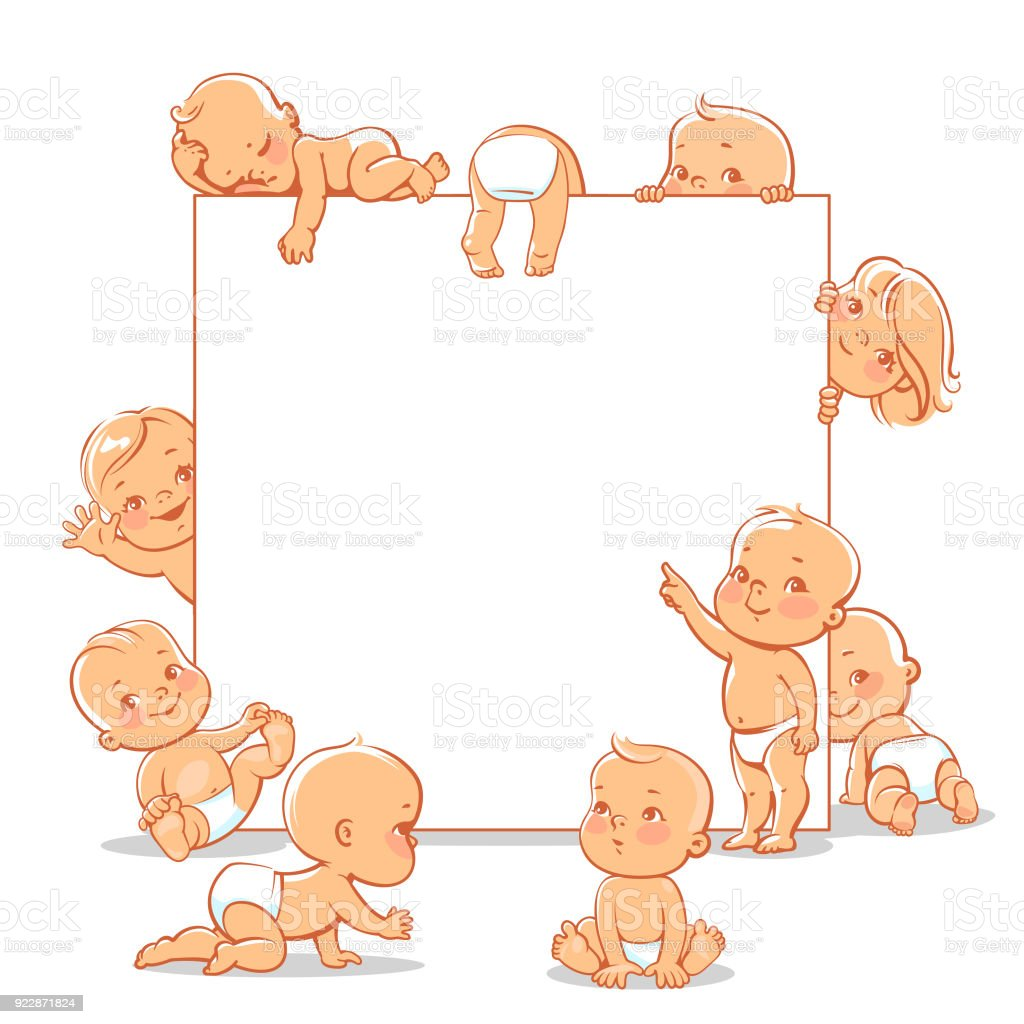 Babies in diapers set. vector art illustration