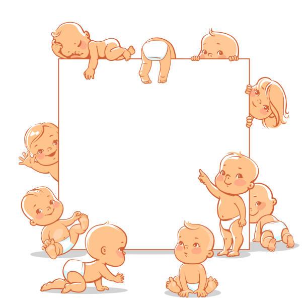 Babies in diapers set. vector art illustration