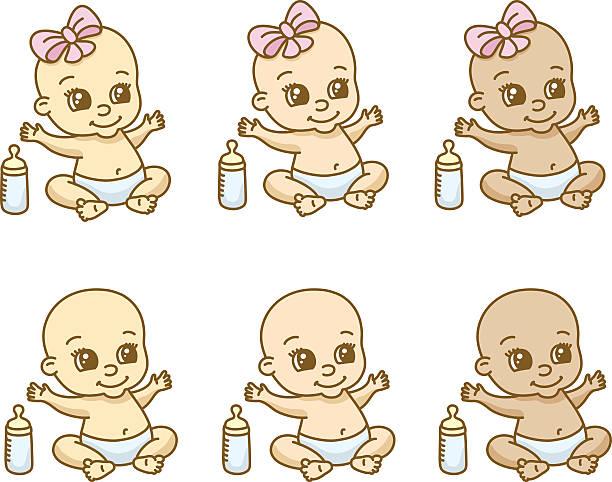 Babies of different ethnicities and gender vektorkonstillustration