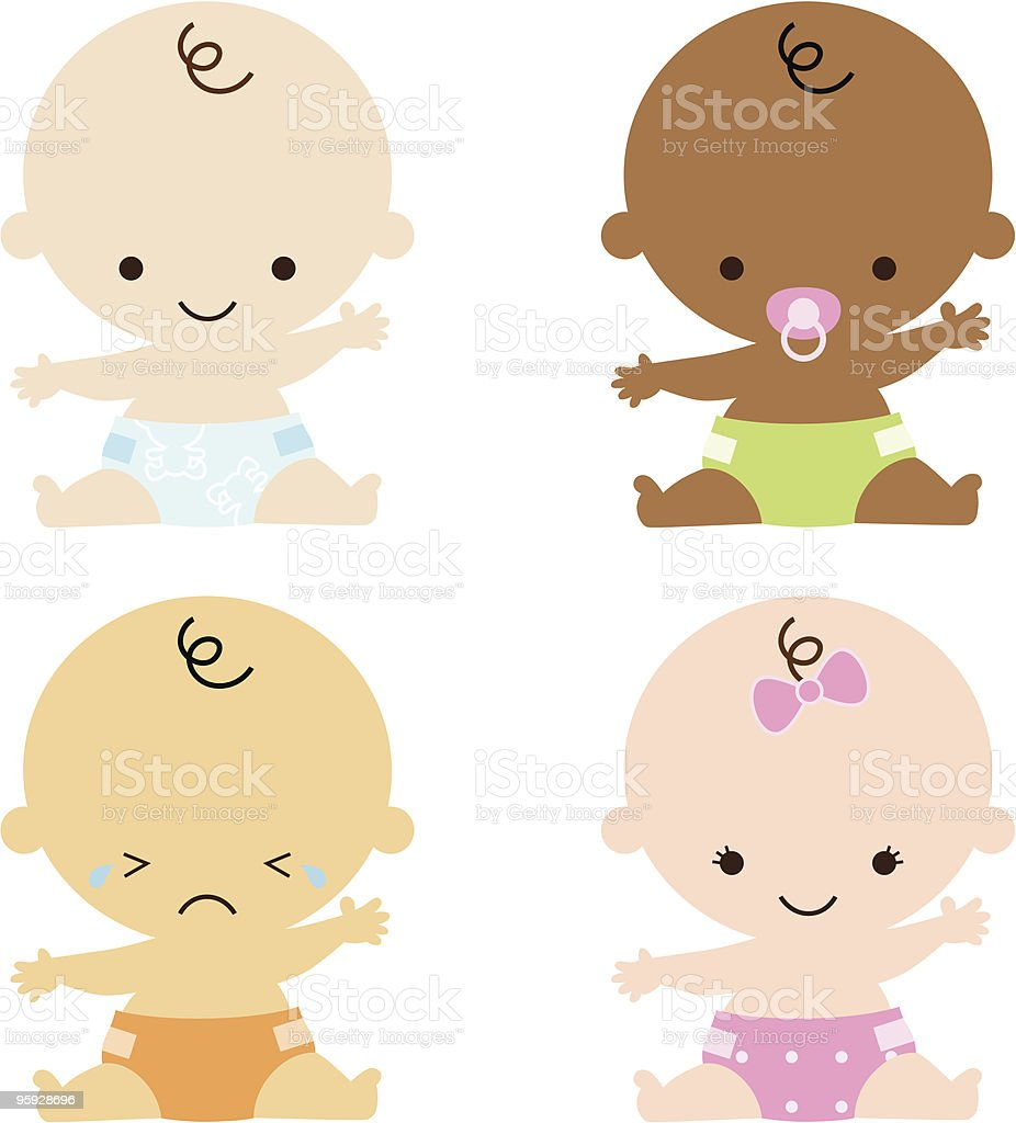 4 Babies of Different Races Reaching out vector art illustration