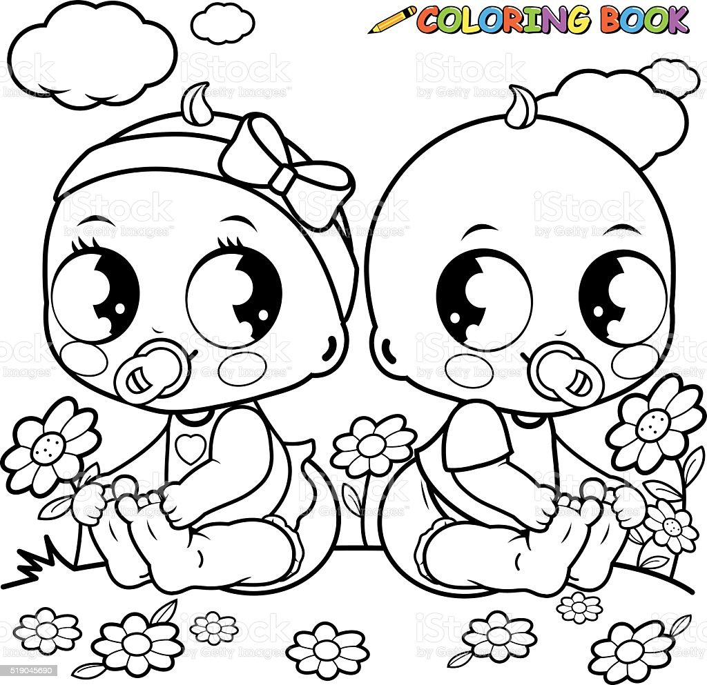 Ilustración de Bebés Jugando Al Libro Para Colorear Página y más ...