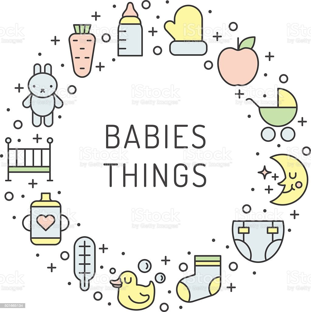 Babies things outline multicolored vector circle frame background. Part one. vector art illustration